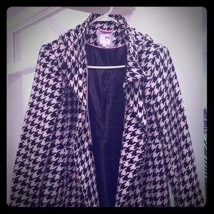 "Houndstooth print ""Peacoat"" style winter coat"